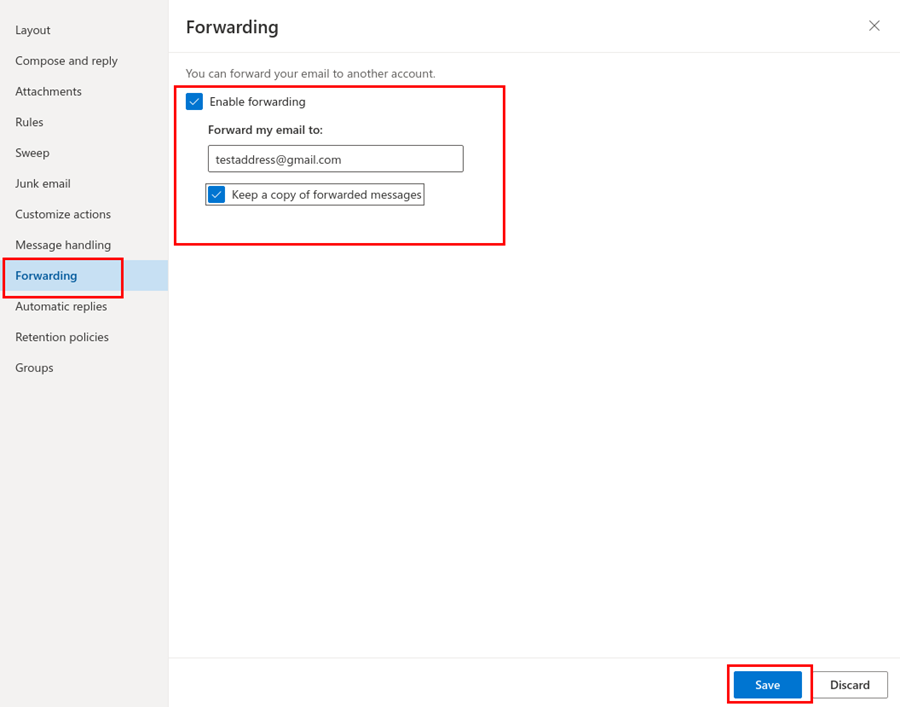Screenshot showing the forwarding settings in Outlook