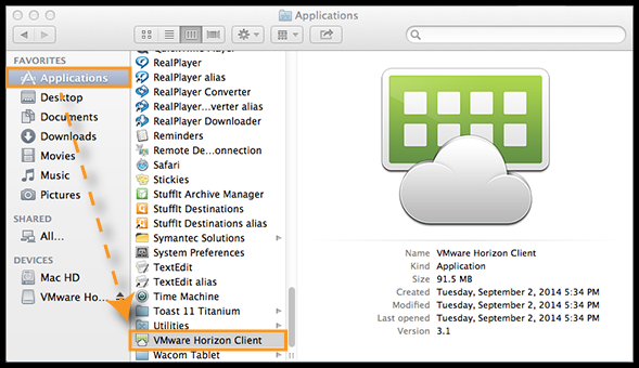 Applications folder with VMware Horizon Client highlighted