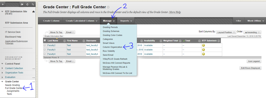 View of the Grade Center with indicators next to Full Grade center course menu item, the Manage button, and Column Organization dropdown item.