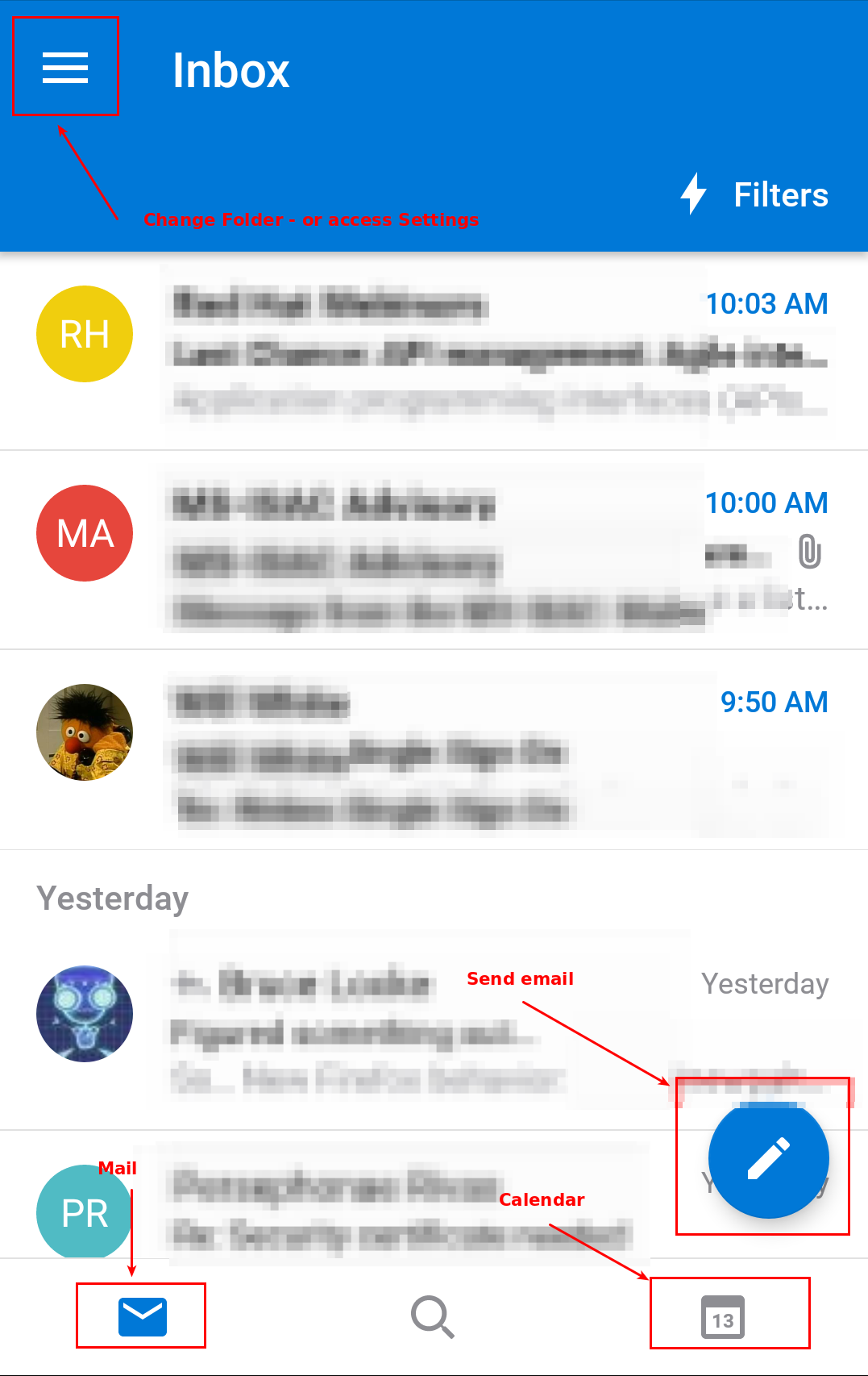 Screenshot of Outlook app - with various sections highlighted