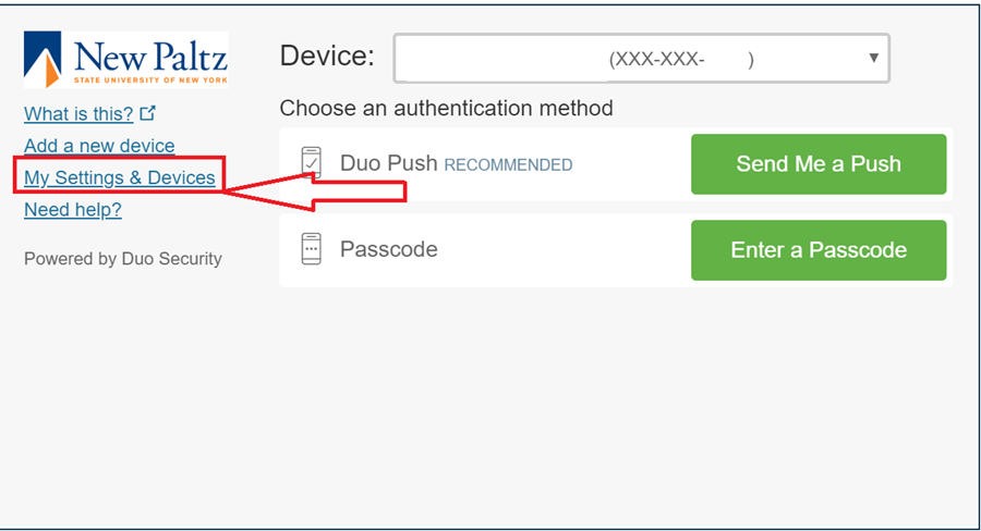 """Screenshot of initial Duo prompt with """"My Settings and Devices"""" highlighted"""