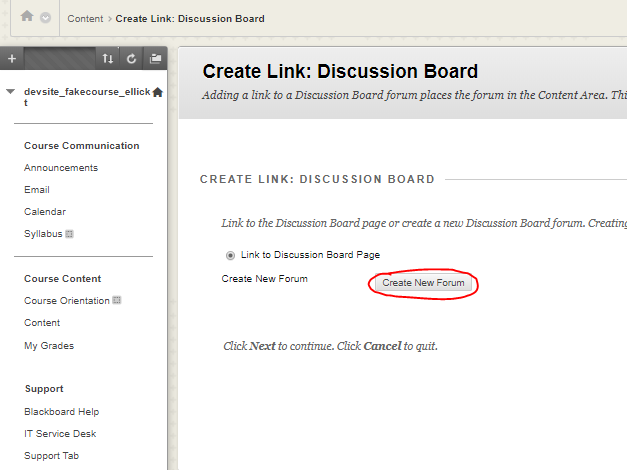 "Click ""Create New Forum"""