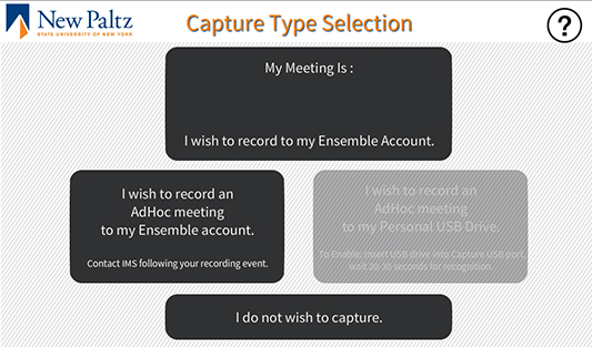 Crestron Capture Type Selection