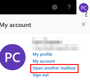 "Screenshot showing the ""Open another mailbox"" button"