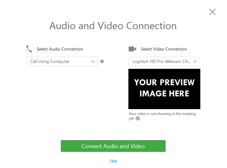 Image of pop up screen asking user to connect audio and video