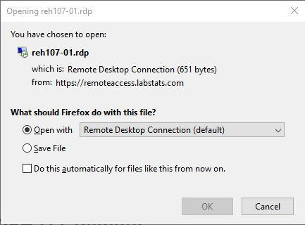 Screenshot showing firefox option to Open with the Remote Desktop Connection