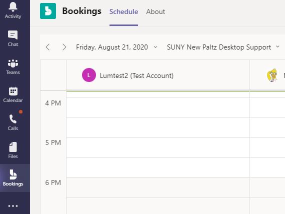 Screenshot of Bookings inside of Teams