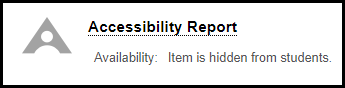 Screenshot of Accessibility Report link and icon.