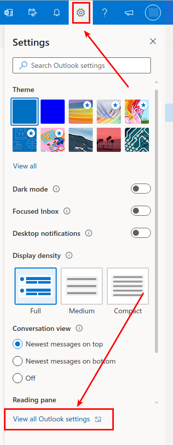 Screenshot showing the gear icon for settings in Outlook, and the View All Outlook Settings button