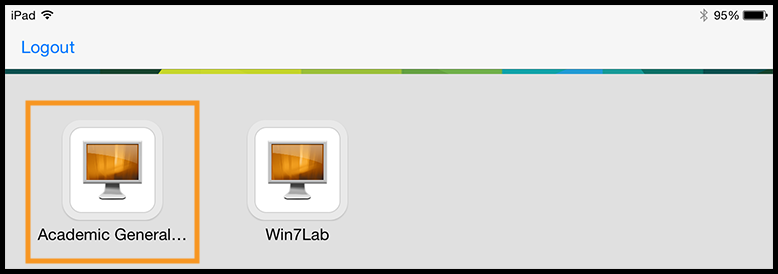 VMware desktop options such as Academic General WIN7Lab and Win7Lab