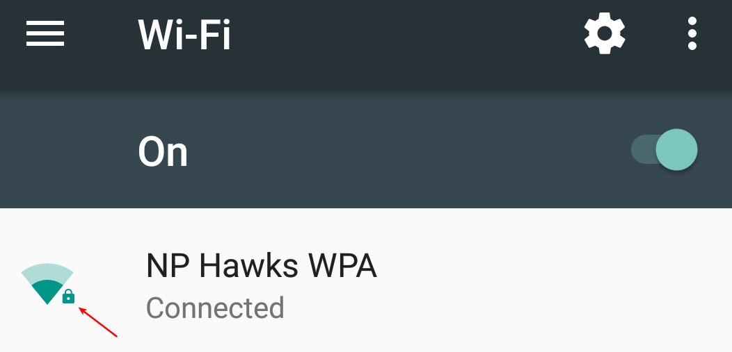 Screenshot from android showing the lock icon next to the wireless network