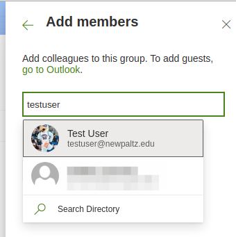 Screenshot showing the add members window - with a test user being added as an example