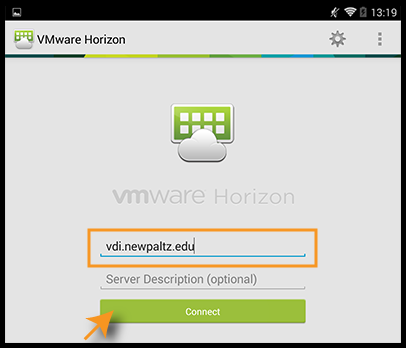 VMware log in screen on Android