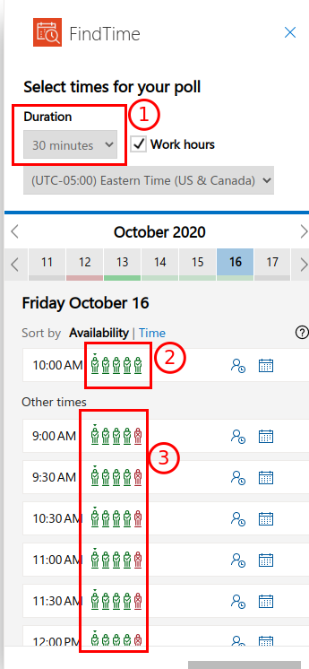 "Screenshot of the FindTIme ""Select times for your poll"" window"
