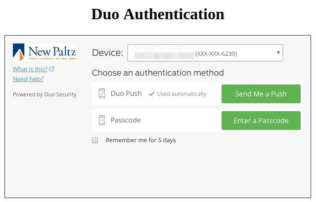 Screenshot of Duo Authentication screen