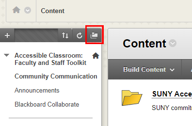 Image of Folder Icon in Blackboard with red square highlighting its location in the top right of the course menu