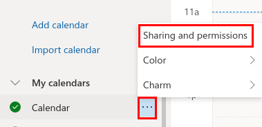 Screenshot of where to find the sharing and permissions section