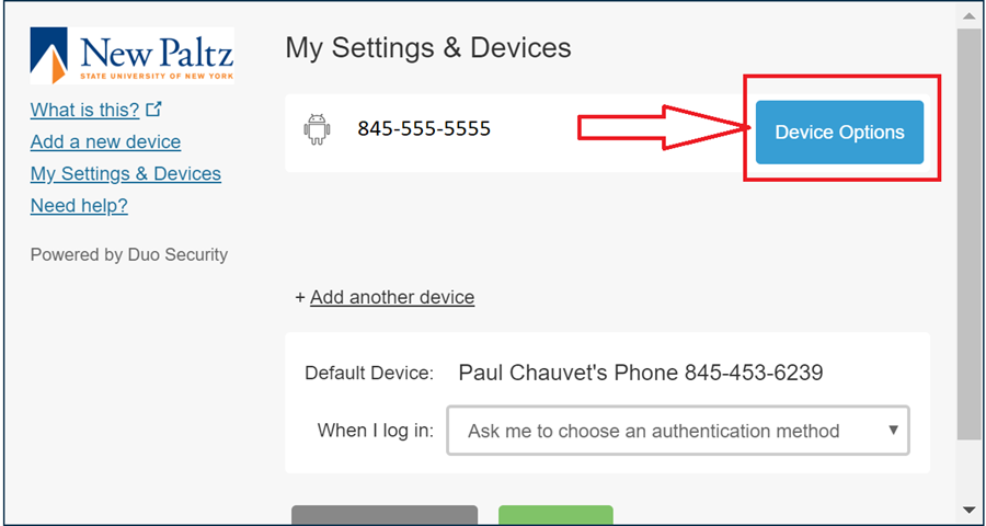 """Screenshot of Duo prompt with """"Device Options"""" highlighted"""