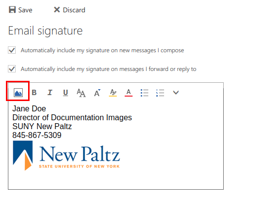 Screenshot of signature setup window with the insert image button highlighted