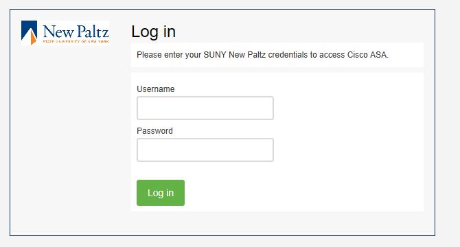 Screenshot of VPN login window