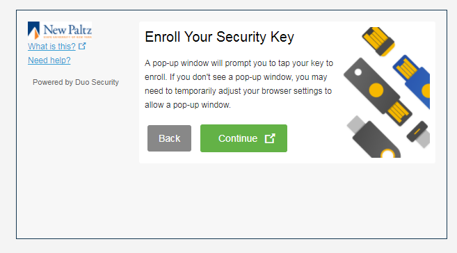Security Key setup - screen 3