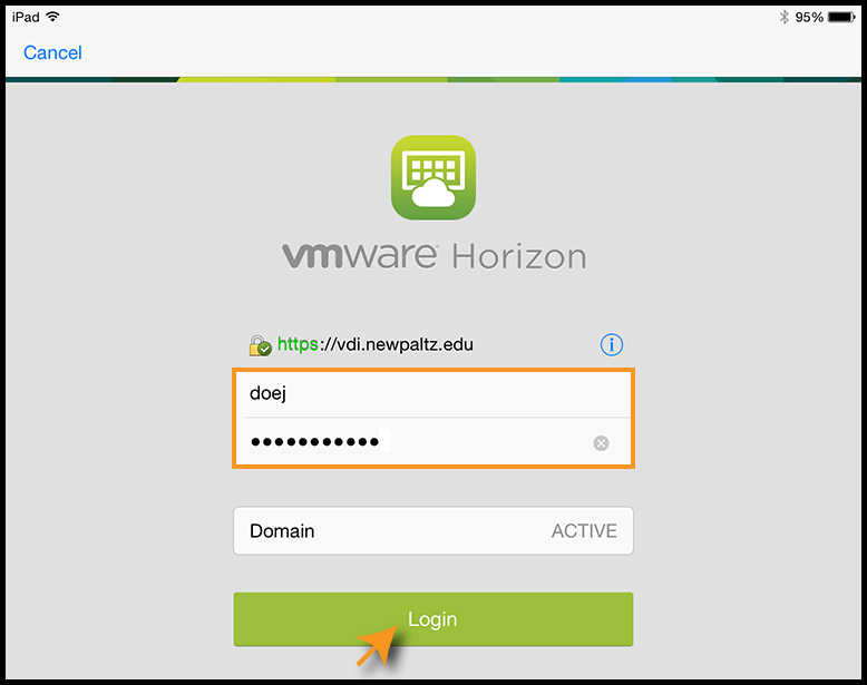 VMware log in screen with example information
