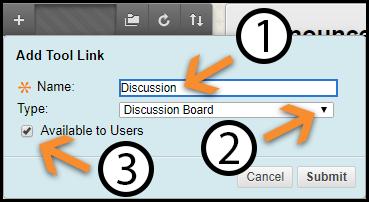 Add Tool Link Dialogue Box