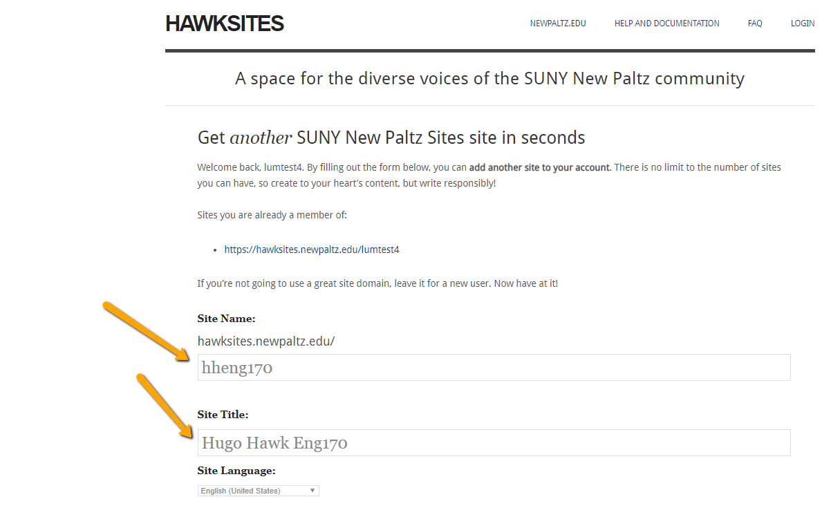 Required new hawksite information