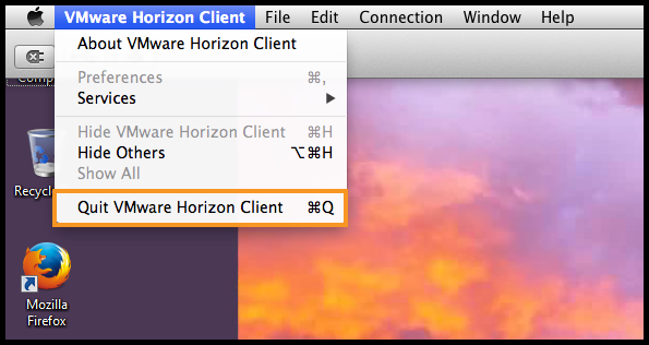 VMware Horizon Client menu with Quit VMware Horizon Client button highlighted