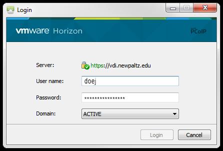 VMware Client log in screen