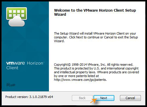 VMware Setup wizard with Next button highlighted