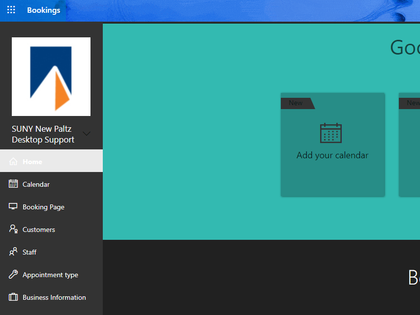 Screenshot of Bookings - after setup
