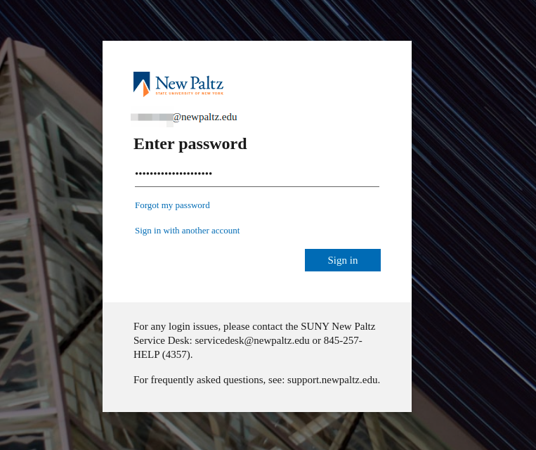 Screenshot with MS Azure login