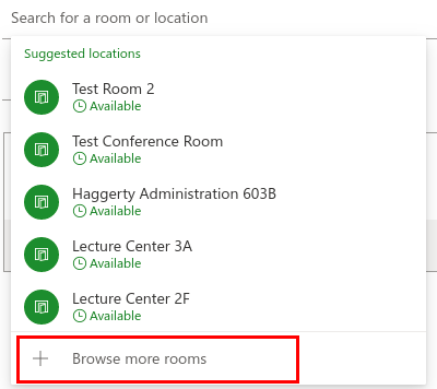 Screenshot of the suggested locations window with the browse more rooms button highlighted