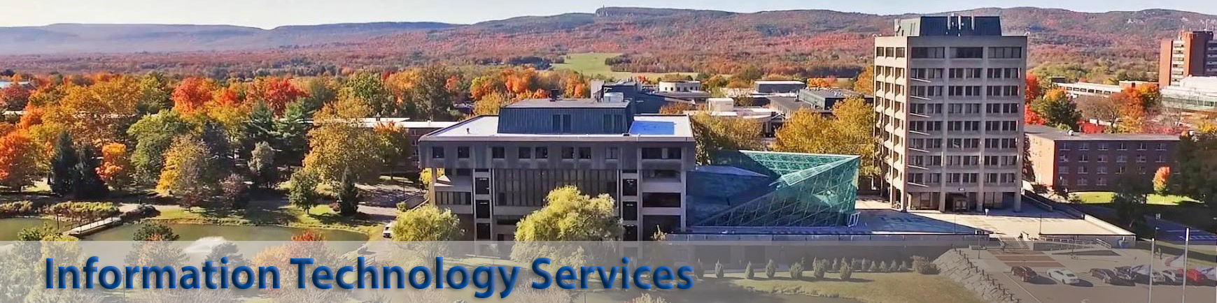 Picture of Student Union Building.  Text says Information technology services