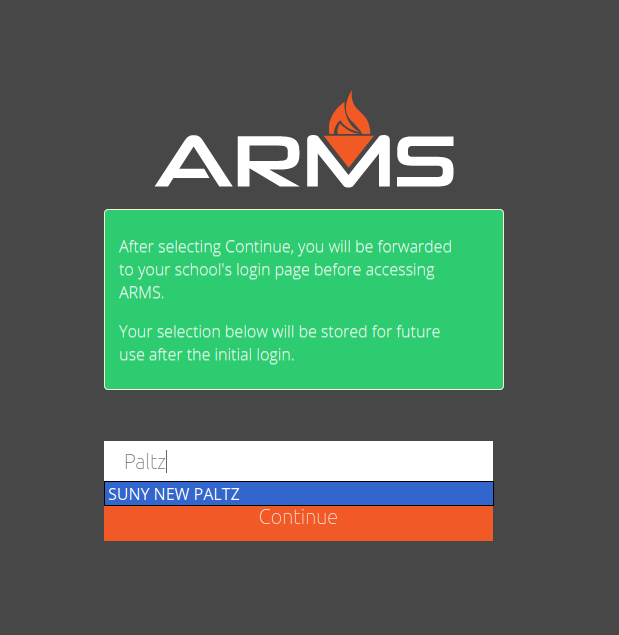 Screenshot of ARMS organization selection page