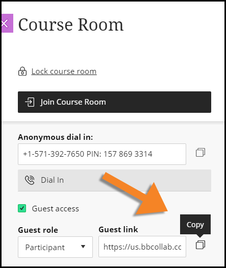 """Screenshot showing the """"Allow Guest"""" option is checked and identifying the Copy icon"""