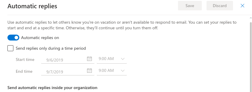 Automatic replies settings