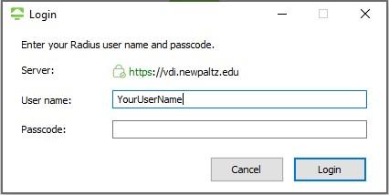 Screenshot of Windows Horizon Client - Login screen
