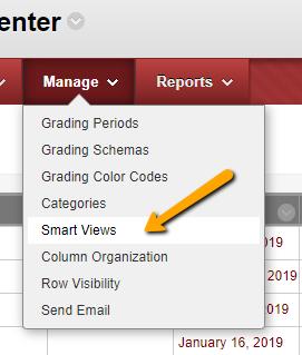 Grade Center Smart View Button