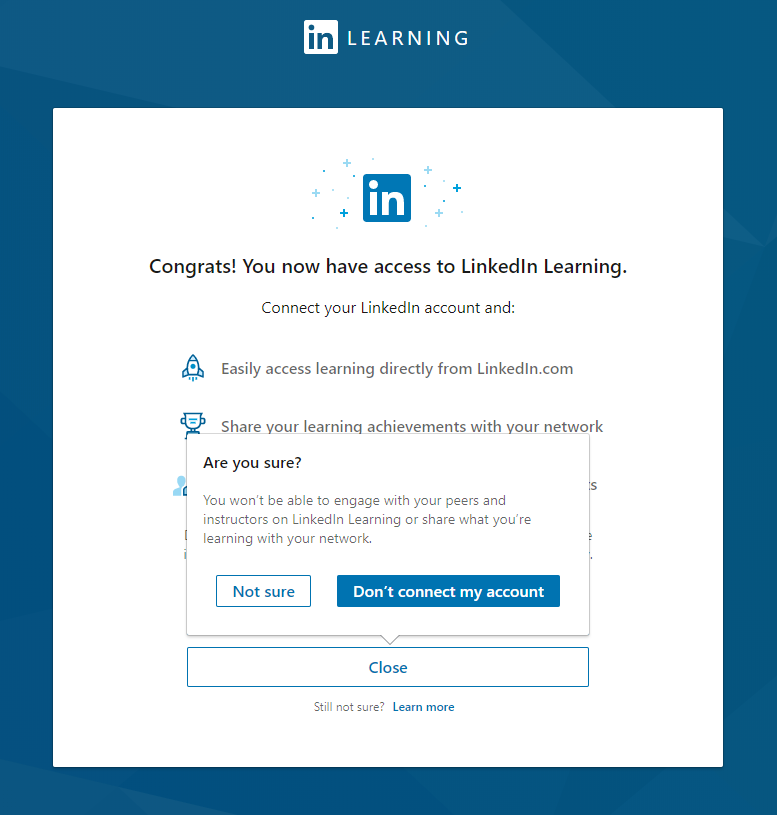 Linked In Learning connect account screen