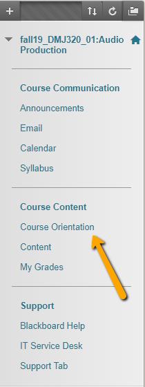 Blackboard left menu course orientation