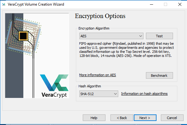 Screenshot of VeraCrypt - highlighting the Encryption Options