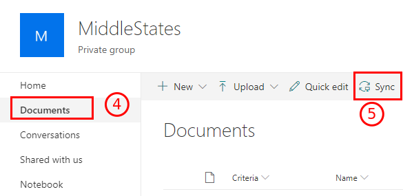 Screenshot of how to get to group documents, and the Sync button