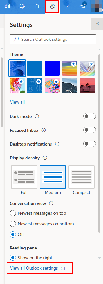Screenshot of Outlook with the gear icon, and the view all settings button, highlighted
