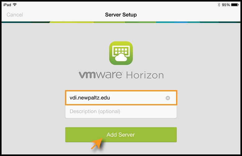 VMware log in screen