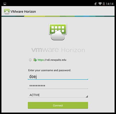 VMware Horizon client log in screen