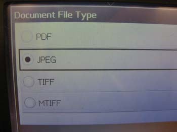 Document File Type Screen