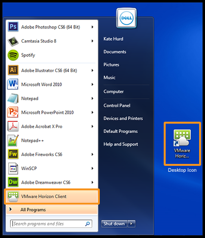 Image shows a screenshot of a Windows start menu displaying a link for the VMware Horizon View Client.  It also shows an example of how the client might appear as a desktop icon.