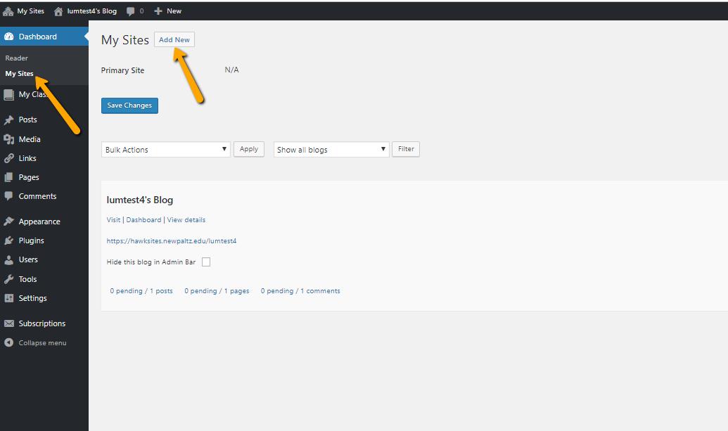 Hawksites My sites, add new site menu
